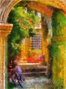 Doorway Digital Art Posters - Courtyard in Cavtat Poster by Lois Bryan