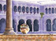 Peru Paintings - Courtyard in Cuzco by Marsha Elliott