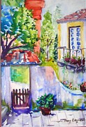 Tiled Painting Posters - Courtyard in Sintra Poster by Nancy Brennand