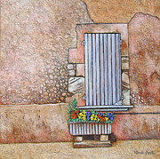 Southern France Mixed Media Framed Prints - Courtyard Framed Print by Pamela Iris Harden