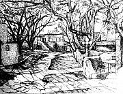 Adobe Drawings Prints - Courtyard Print by Randall Easterling