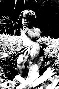 Statue Portrait Digital Art - Courtyard Statue of a Cherub French Quarter New Orleans Black and White Conte Crayon Digital Art by Shawn OBrien
