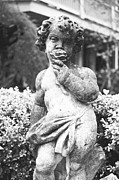 Statue Portrait Digital Art - Courtyard Statue of a Cherub French Quarter New Orleans Black and White Film Grain Digital Art by Shawn OBrien