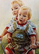 Children Pastels Framed Prints - Cousins Framed Print by Jean Hildebrant