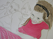 Girls In Pink Prints - Cousins Portrait 1 of 3 Print by Marwan George Khoury