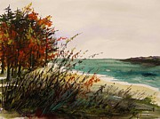 Jmwportfolio Drawings - Cove on an Autumn Day by John  Williams