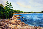 Maine Shore Painting Prints - Cove Shore Print by Laura Tasheiko