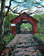 Pen Pyrography Prints - Coverd Bridge Print by Mike Holder