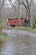 Covered Bridge Digital Art Metal Prints - Covered Bridge - Chester County Pa Metal Print by Bill Cannon