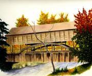 Covered Bridge - Mill Creek Park Print by Michael Vigliotti