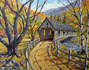 Original  By Artist Paintings - Covered Bridge 04 by Richard T Pranke