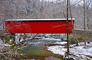 Stream Digital Art Prints - Covered Bridge Along the Wissahickon Creek Print by Bill Cannon