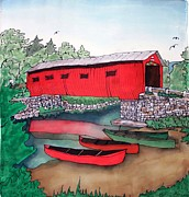 Stone Tapestries - Textiles Prints - Covered Bridge and Canoes Print by Linda Marcille