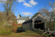 Conway Prints - Covered Bridge and Church Conway Massachusetts Print by John Burk