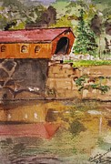 Covered Bridge And Reflection Print by Phyllis Barrett