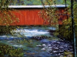 Stream Pastels Posters - Covered Bridge and  Wissahickon Creek Poster by Joyce A Guariglia