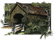 Beautiful Creek Mixed Media Prints - Covered Bridge at Yachats Oregon Print by Donald Aday