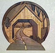Intarsia Sculpture Framed Prints - Covered Bridge Framed Print by Bill Fugerer