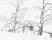 Covered Bridge Drawings Posters - Covered Bridge Poster by Dan Theisen
