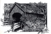 Wildlife Landscape Drawings - Covered Bridge by Donald Aday