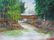 Covered Bridge Painting Metal Prints - Covered Bridge Metal Print by Heidi Patricio-Nadon