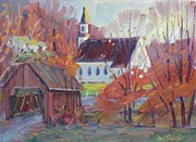Berkshires Paintings - Covered Bridge in Autumn by Len Stomski