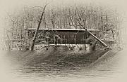 Fairmount Park Prints - Covered Bridge in Black and White Print by Bill Cannon
