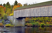 Covered Bridge Prints - Covered Bridge in Maine during Fall Print by Brendan Reals