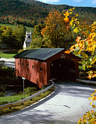 Wood Bridges Metal Prints - Covered Bridge in Vermont Metal Print by Rafael Macia and Photo Researchers