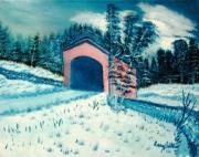 Covered Bridge Painting Metal Prints - Covered Bridge in Winter Metal Print by Larry Idle