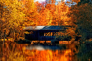 Reflections In Water Posters - Covered Bridge Poster by Joann Vitali