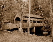 Covered Bridge Pyrography Metal Prints - Covered Bridge Metal Print by Ken Welsh