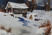 Lit Painting Originals - Covered Bridge by Len Stomski