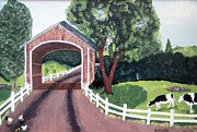 Covered Bridge Painting Metal Prints - Covered Bridge Metal Print by Linda Robinette