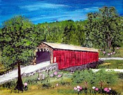 Covered Bridge Painting Metal Prints - Covered Bridge Metal Print by Lorraine Louwerse