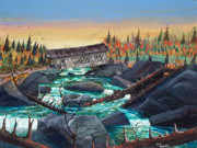 Covered Bridge Paintings - Covered bridge on Yellow Creek by Gary McClemens