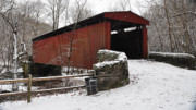 Snow . Bridge Framed Prints - Covered Bridge over the Wissahickon Creek Framed Print by Bill Cannon