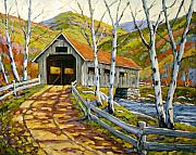 Prankearts Paintings - Covered  Bridge  by Richard T Pranke