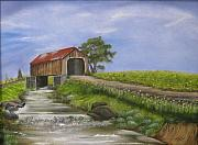 Covered Bridge Painting Metal Prints - Covered Bridge Metal Print by RJ McNall