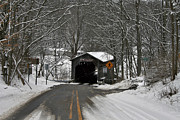 Winter Roads Framed Prints - Covered Bridge Road Framed Print by Richard Gregurich