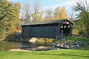 Covered Mixed Media Framed Prints - Covered bridge Framed Print by Robert Pearson