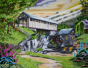 Covered Bridge Drawings Metal Prints - Covered Bridge Metal Print by Robert Thornton