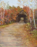 Autumn Foliage Pastels Prints - Covered Bridge  Southern NH Print by Jack Skinner