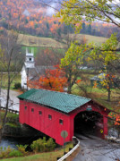 Photos Of Autumn Framed Prints - Covered Bridge-West Arlington Vermont Framed Print by Thomas Schoeller