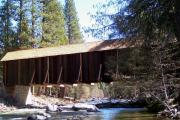 Covered Bridge Digital Art Prints - Covered Bridge Yosemite Print by Marjorie Imbeau