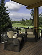 Cushion Posters - Covered Deck Overlooking Golf Course Poster by Robert Pisano