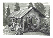 Hike Drawings - Covered Foot Bridge by Jonathan Baldock