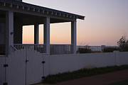 Roofline Prints - Covered Porch And Fence At Sunset Print by Roberto Westbrook