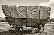 Covered Wagon Sepia Print by Steve Harrington