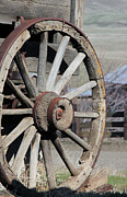 Barn Pen And Ink Photo Posters - Covered Wagon Wheel Poster by Athena Mckinzie